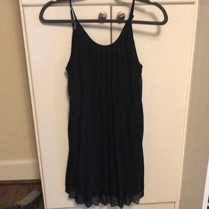Black pleated spaghetti strapped dress